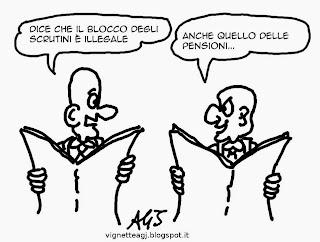 pensioni, blocco degli scrutini, #labuonascuola, satira , vignetta