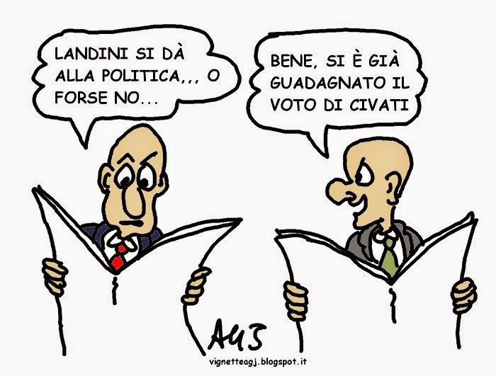 Landini, Civati, satira , vignetta