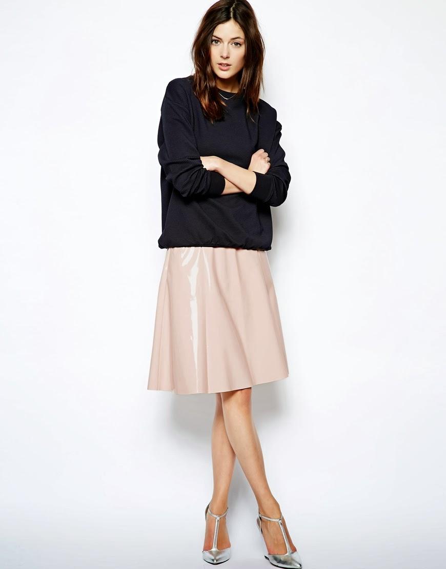 patent midi skirt