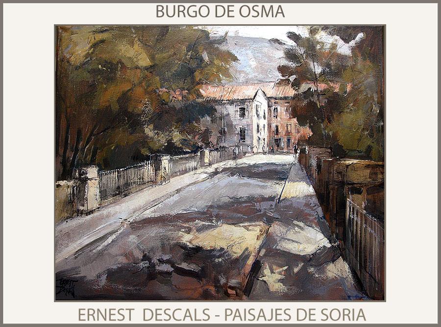 BURGO DE OSMA-SORIA-PINTURA-PAISAJES-ESPAÑA-PINTURAS-DUERO-CUADROS-PINTOR-ERNEST DESCALS-