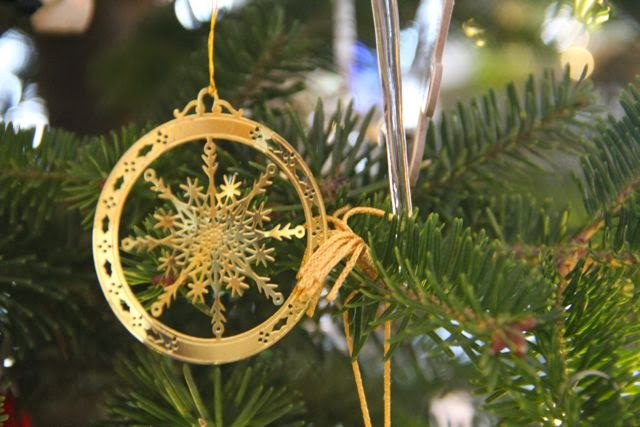 Christmas tree ornament in gold