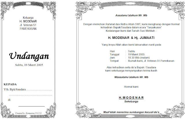 Format Undangan Syukuran Haji