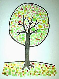 cara menggambar pohon dengan pewarna makanan dan cotton bud