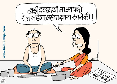 common man cartoon, mahangai cartoon, cartoons on politics, indian political cartoon