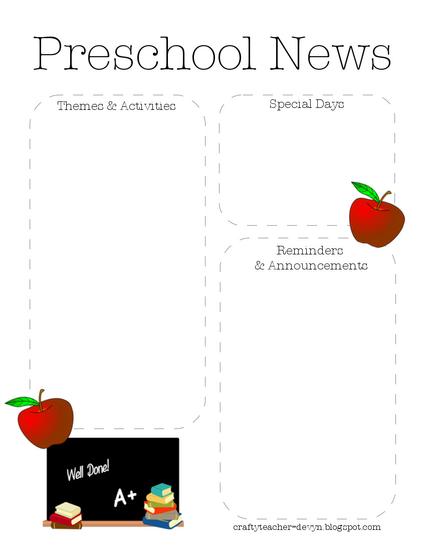 Preschool Newsletter Template The Crafty Teacher - August newsletter template