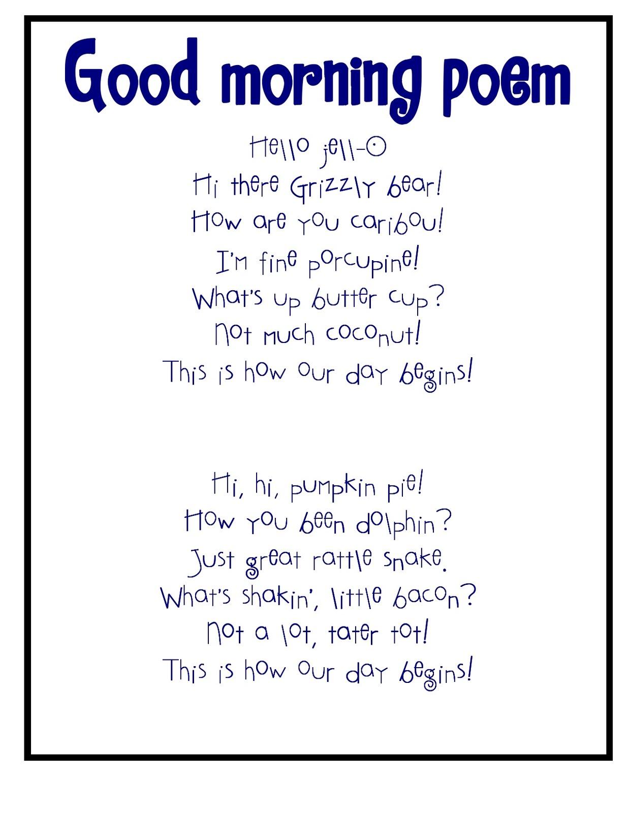Good Morning Everyone Poem : Pre k sweet peas family ties