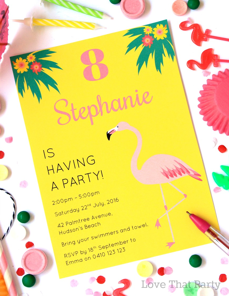 Tropical Flamingo Party Invitation