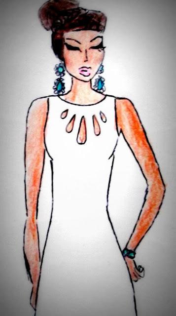 croqui vestido branco de festa desenho de moda