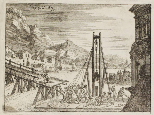 book engraving - river platform for bridge building 17th century