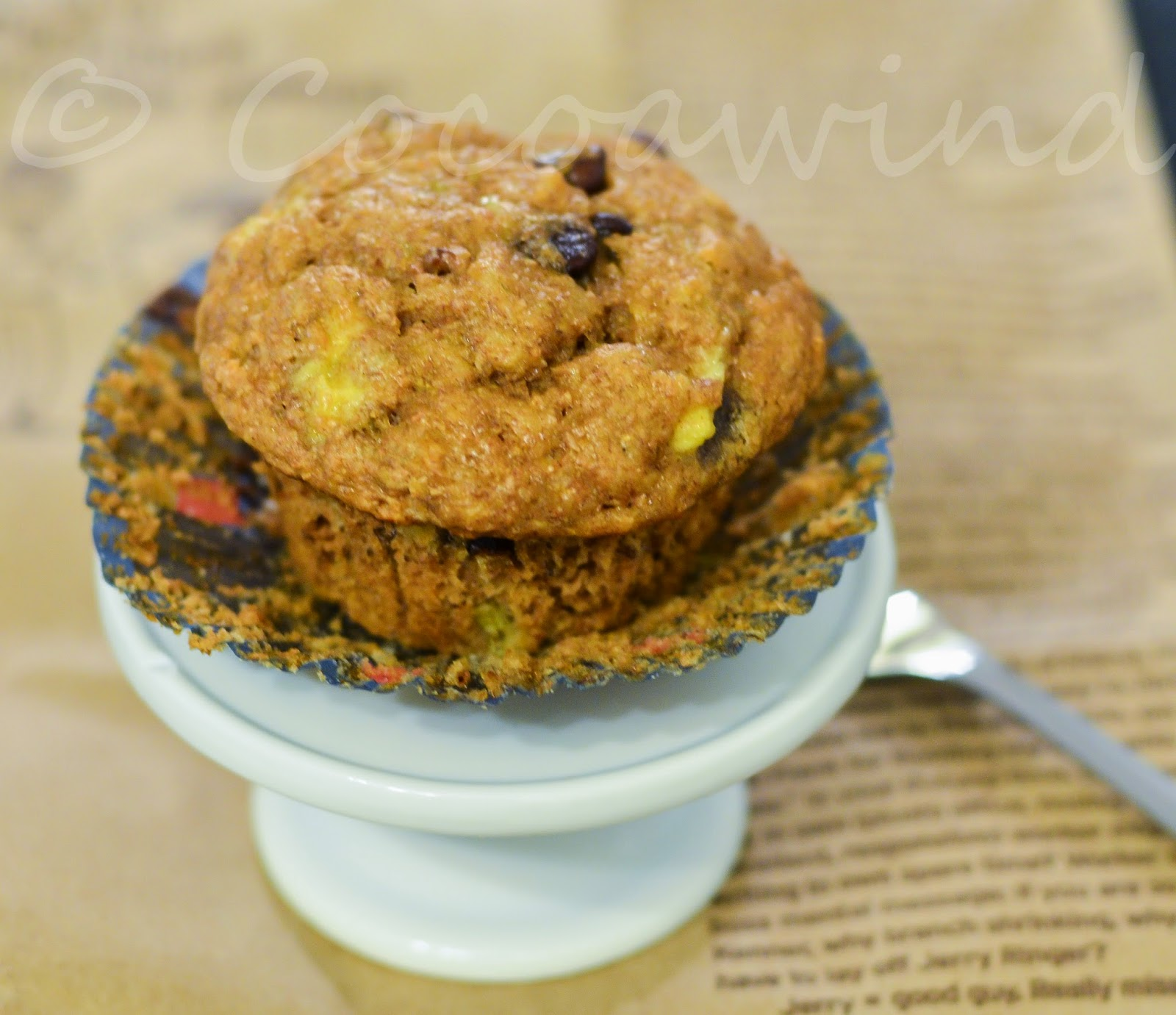 Eggless Whole-wheat Chocolate Chip Banana Muffin