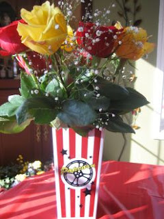 Roses and vase in popcorn box