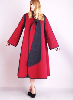 Vintage raspberry colored reversible wool swing coat with navy blue lining