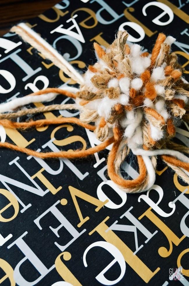 Pom pom bow gift wrap