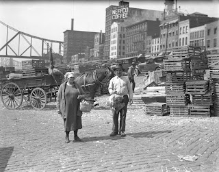 Buying chickens downtown, 1929, Pittsburgh