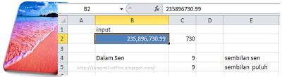 cara membuat jumlah terbilang dalam sen pada MS Excel