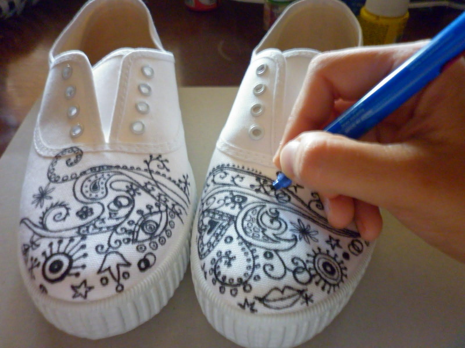Susoleto pintar zapatillas paso a paso - Como pintar telas a mano ...