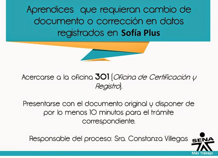 Cambio documento Sofia Plus