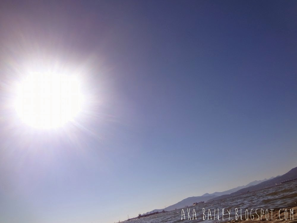 Sunshine in a blue sky while lying on the beach
