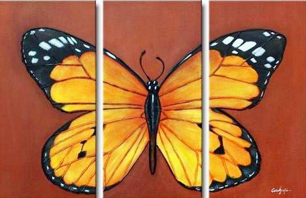 Pinturas Cuadros al Óleo: Pintura: Cuadros modernos con mariposas