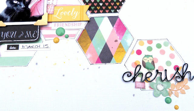 Cherish scrapbook layout Tracee Provis my scraps & more bo bunny youre invited 2 crafty chipboard 02