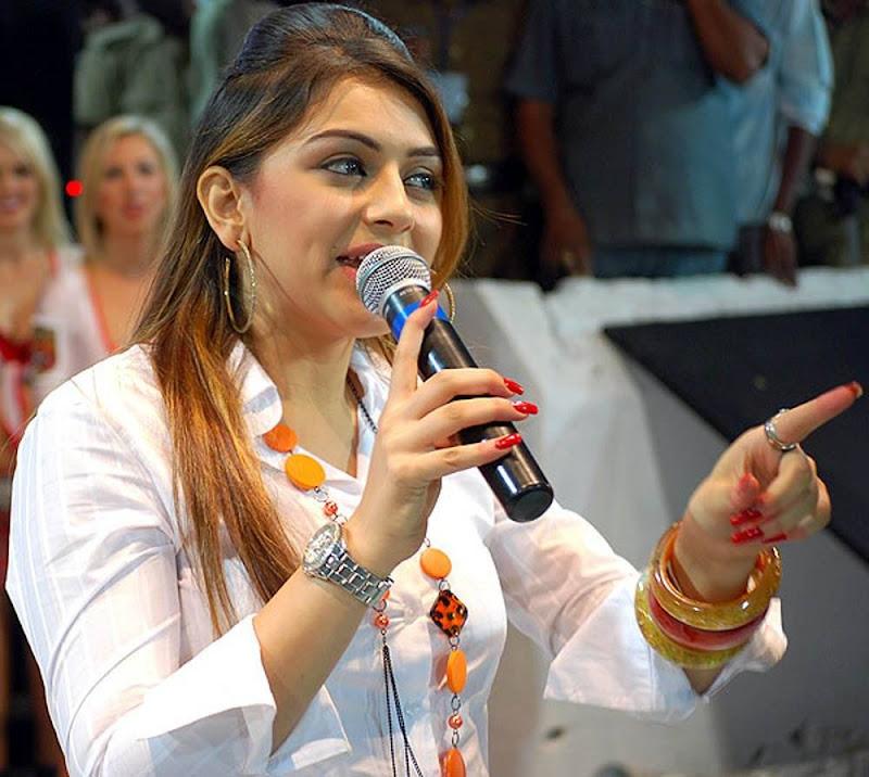 Actress Hansikamotwani HQ Photos in White Shirt hot photos