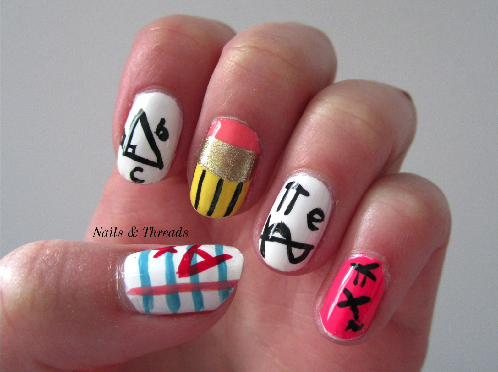 Nails & Threads: Back to School Nail Art - Math Nerd