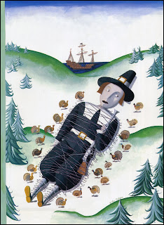 illustration by Kathy Osborn of a pilgrim tied up by turkeys for thanksgiving