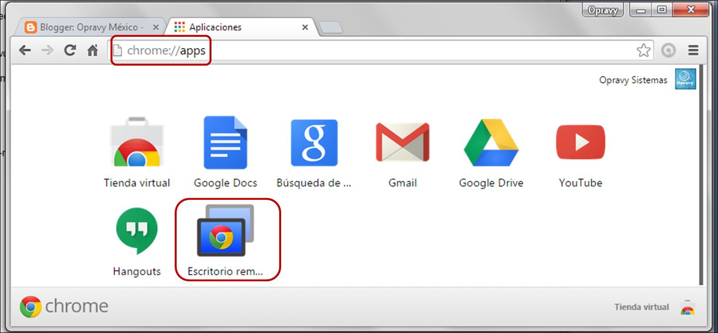 ventana de aplicaciones de google chrome