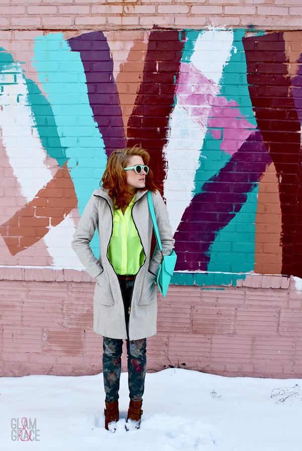 graffiti - mint accessories - Zara coat - floral pants