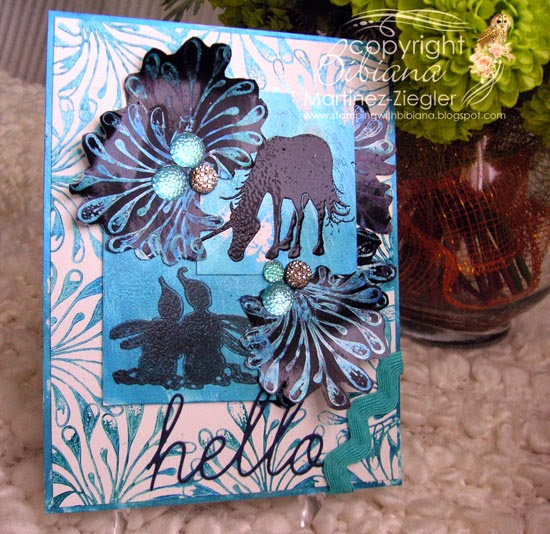 mica-gloss ink card front with lavinia stamps