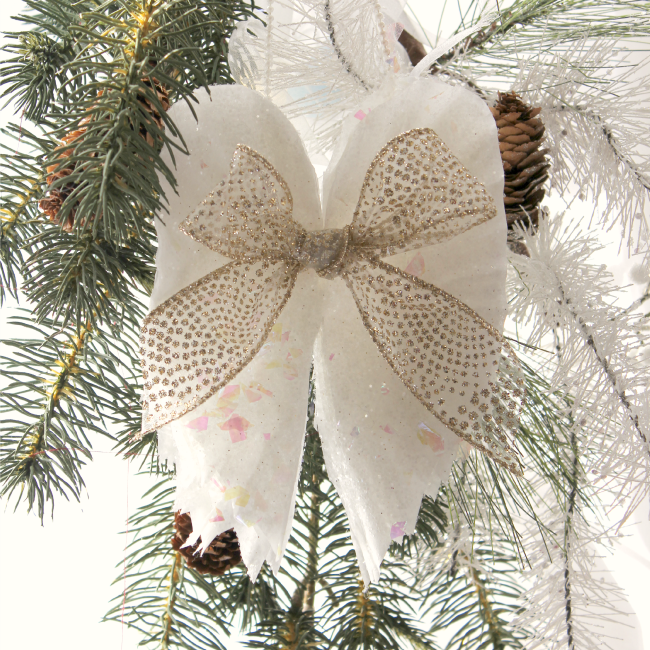 Angel wing ornament made with coffee filters and glitter