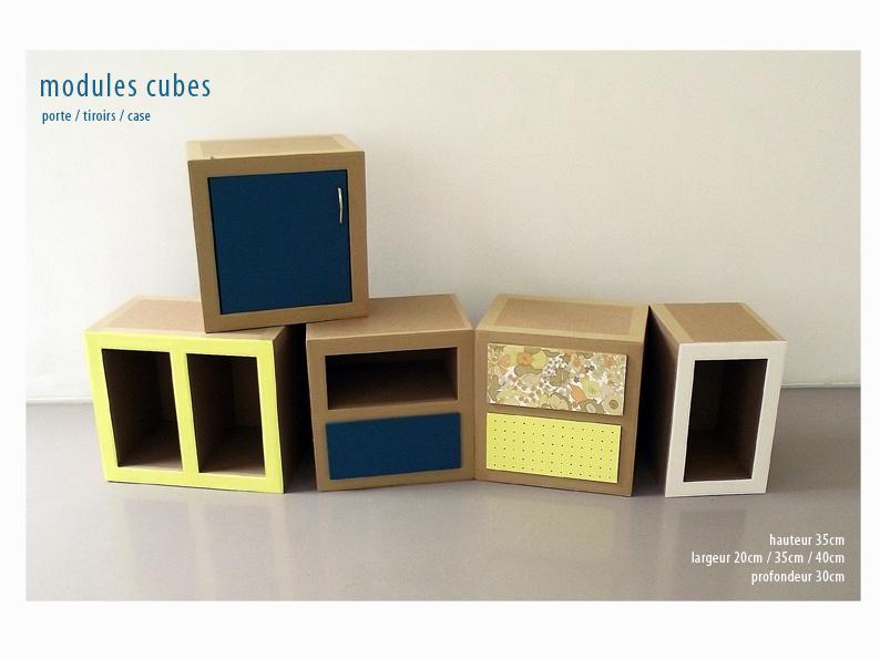 meuble en carton. case, tiroir et porte.module à assembler. création sur mesure. fabriqué à marseille par juliadesign.
