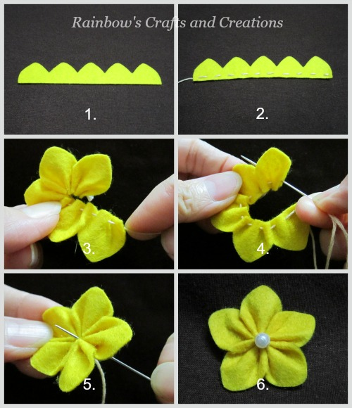 Rainbows crafts and creations how to make simple felt flowers mightylinksfo