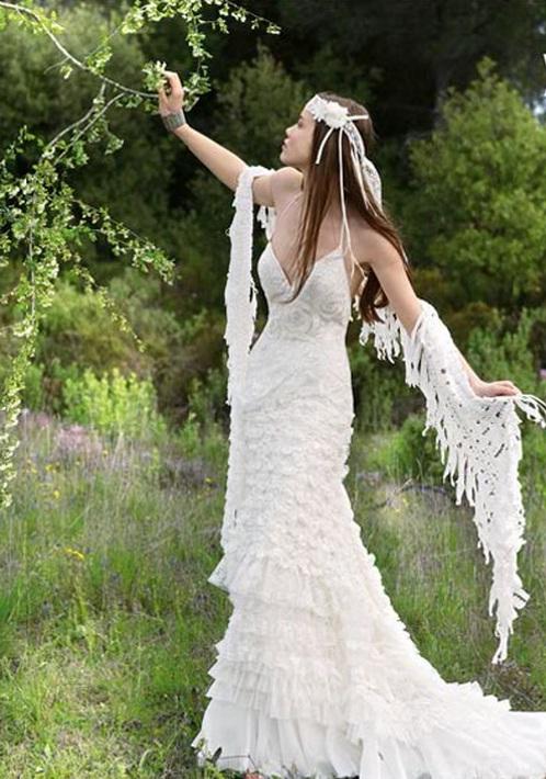 Bohemian wedding dresses world of bridal for Unique bohemian wedding dresses