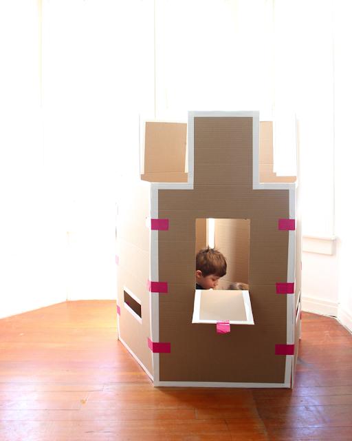 a diy accordion cardboard castle