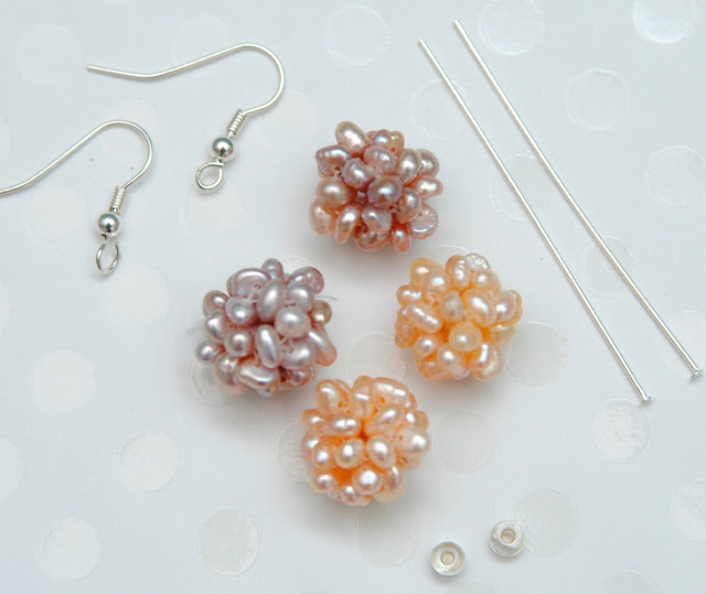 pearl cluster earrings supplies