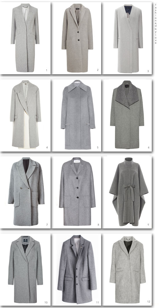 via fashionedbylove: grey coats edit for all budgets | Jaeger, Joseph, TopShop, M&S, MSMG, Valentino, Stella McCartney