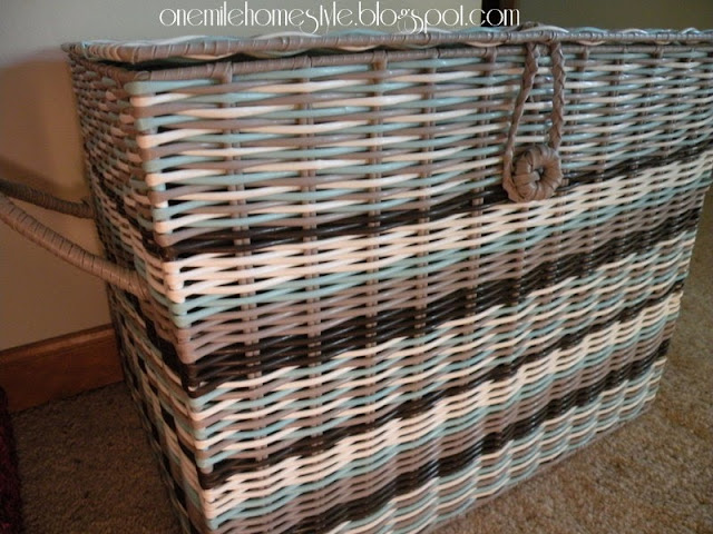 Large striped basket to organize hats and gloves