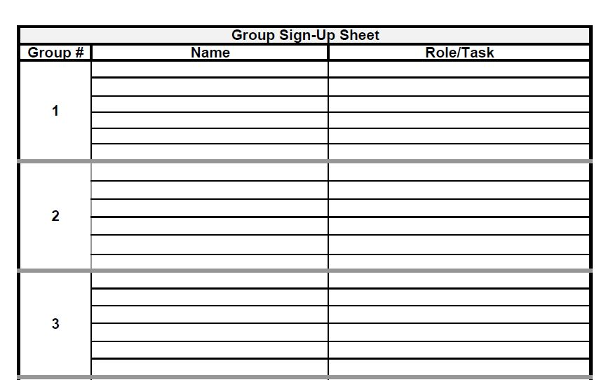 The Admin Bitch: Download Group Project Sign Up Sheet Template (Excel And  PDF)