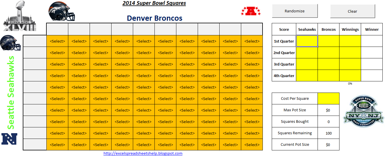... two versions included in this year's Super Bowl Squares spreadsheet