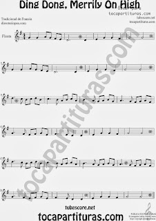 Partitura de Ding Dong, Merrily On High para Flauta Travesera, flauta dulce y flauta de pico by George Ratcliffe Woodward Sheet Music for Flute and Recorder Music Scores