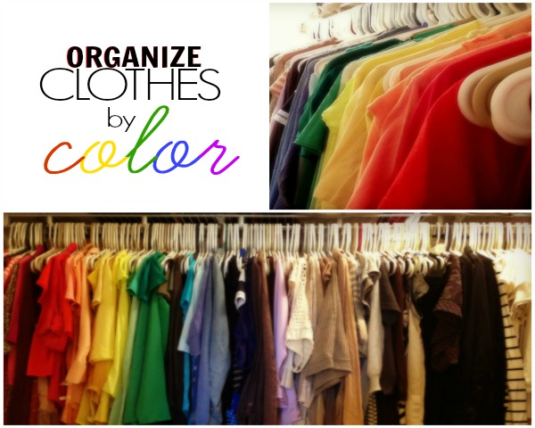 closet organization, organize clothes by color
