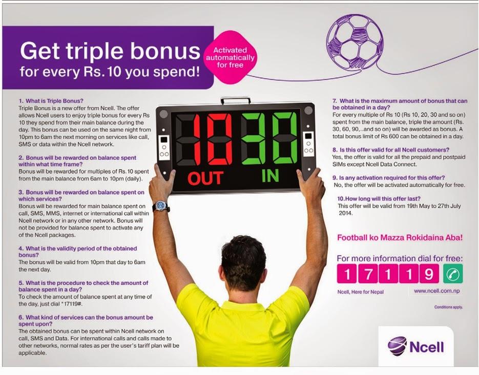 details of ncell triple bonus