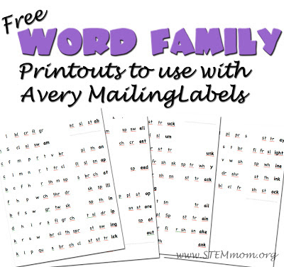Free Word Family Printouts to be used with Avery Mailing Labels: from STEM Mom