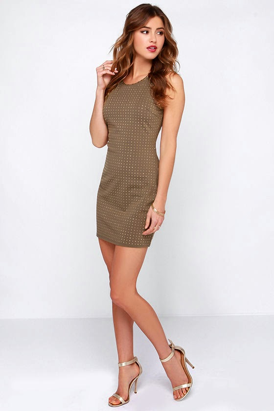 Dot Your I's Studded Brown Bodycon Dress $60  $1800