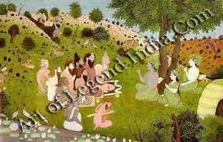 Rama, Seeta and Lakshmana in the hermitage of holy men 14 Kangra miniature, Himachal Pradesh
