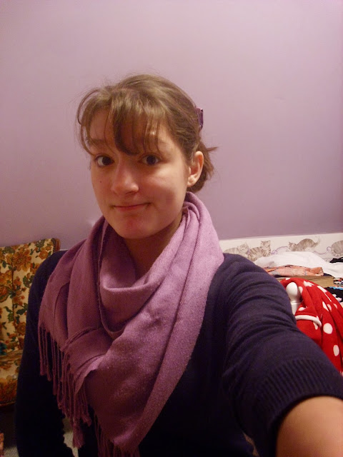 Cardigan and scarf outfit selfie ll Young Yankee Lady