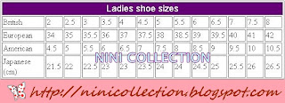 SHOE SIZE GUIDELINE!