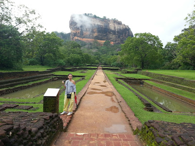 Sigiriya Water Gardens, complex of terraces, ponds with fountains, beautiful cascade, landscape design, brick terraces