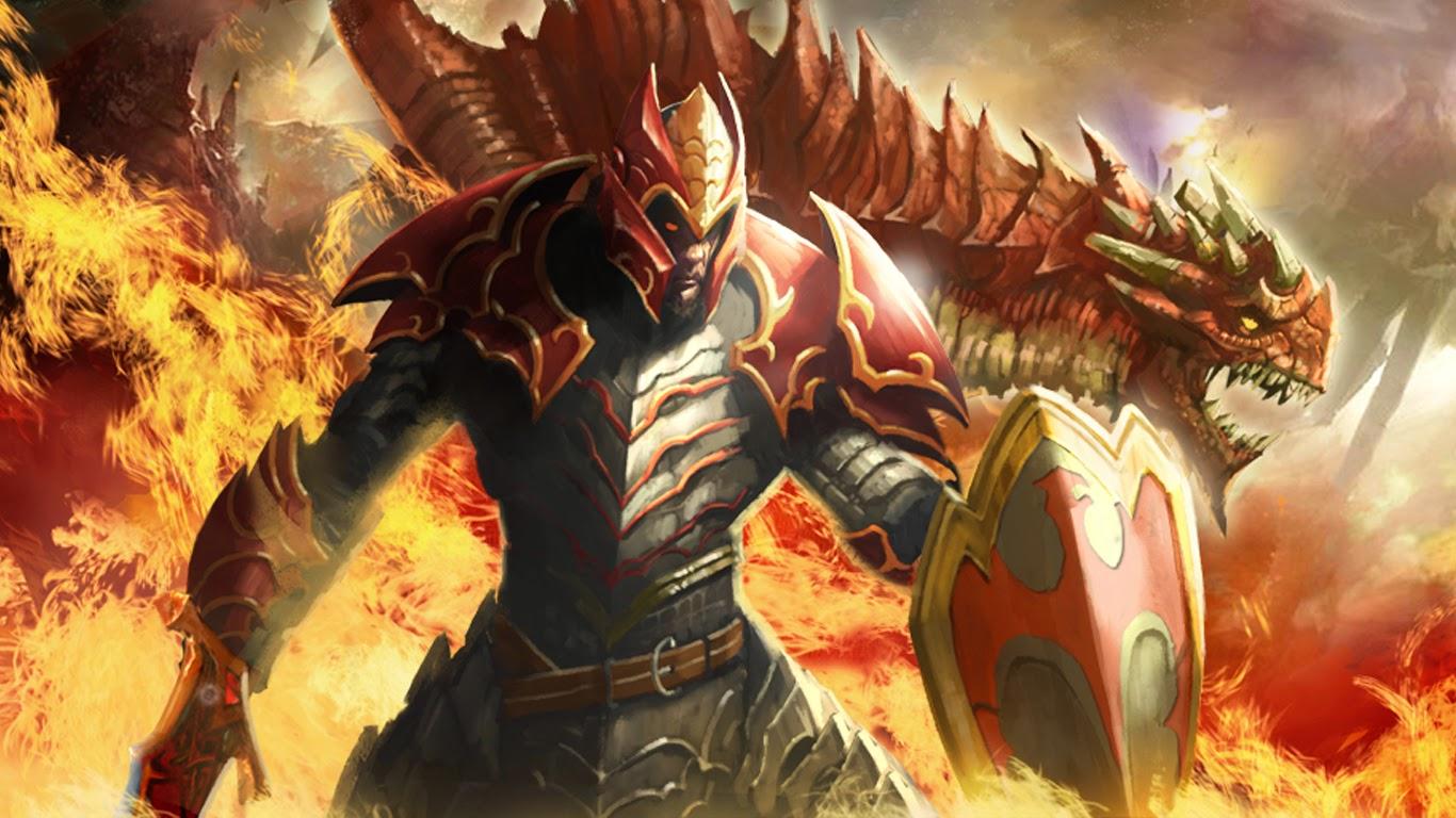 DOTA 2 Davion Dragon Knight Shield Armor Sword Fire Video Computer Games HD Wallpaper Q06